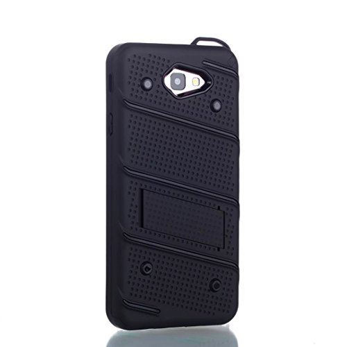 EKINHUI Case Cover Dual Layer Hybrid Armor Schutzhülle Shockproof Stoßfänger mit Kickstand für Samsung Galaxy J7 Prime ( Color : Gold ) Black