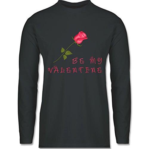 Shirtracer Valentinstag - Be My Valentine Rose Liebe - Herren Langarmshirt Dunkelgrau