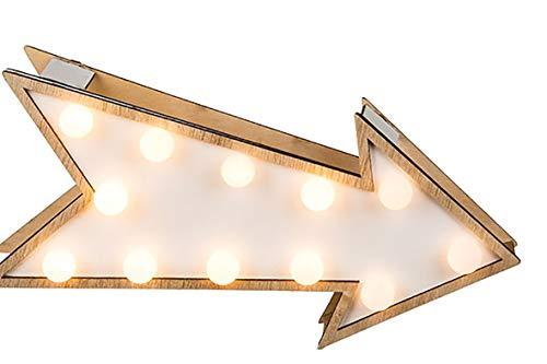 (Kamaca Pfeil aus Holz mit LED - Beleuchtung - Dekorativ und wunderschön in Jedem Wohnraum, Schlafzimmer, Wohnzimmer oder Kinderzimmer (Holz Pfeil LED Weiss))