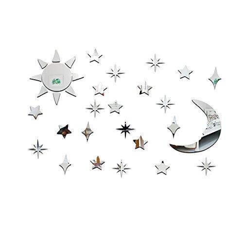 ZYJ Spiegel wandaufkleber, acryl Sonne und mond Sterne DIY Aufkleber 3D dreidimensionalen Umweltschutz für Schlafzimmer,Silver - Erweitern Bad-spiegel