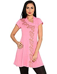 Ira Soleil Women's Polyester Stretch Knit Baby Doll Kurti Dress