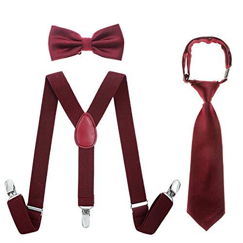 Kinder Hosenträger Fliegen Krawatten Sets - Einstellbar Elastisch Klassisch Hosenträger Fliegen Set für 6 Monate alte - 13-jährige Jungen & Mädchen (Weinrot, 65 cm(5 Monate - 6 Jahre alt)) (Rote Hosenträger Baby)