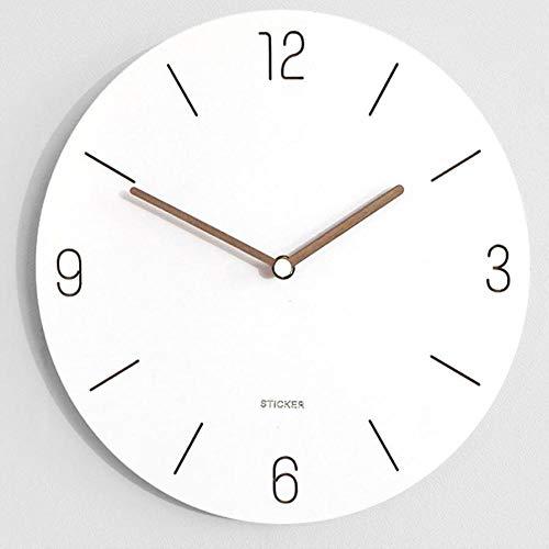 wczzh Quartz Lautlos Wanduhr Uhr Uhren Wall Clock Nordic Mode reinweiß kreative Wanduhr einfache hölzerne runde Künstleruhren A