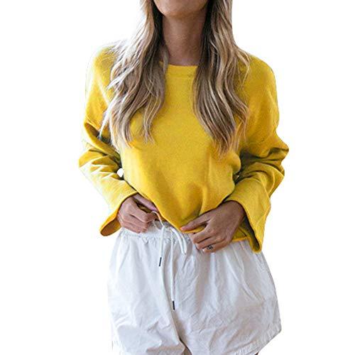 ESAILQ Damen Lässige T-Shirt Langarmshirts Bluse(XL,Gelb) (Kind Gelbe Ranger Kostüm)