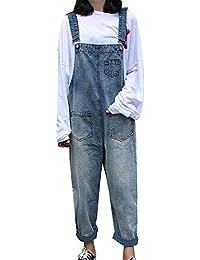 Femme Vintage Salopette en Jean Boyfriend Denim Baggy Pantalon Large