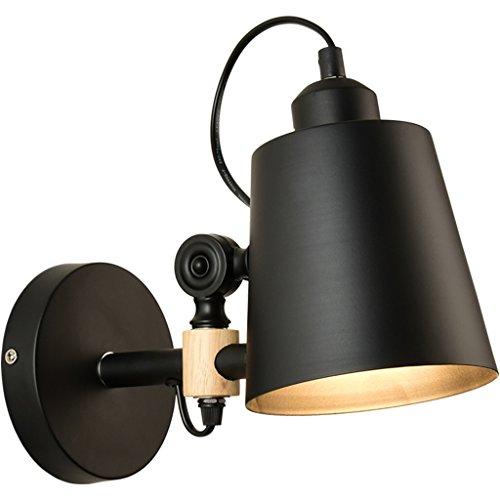 Lampada da parete Log Applique semplice moderna creativa Camera letto le luci balcone corridoio di legno a muro ( colore : Nero )