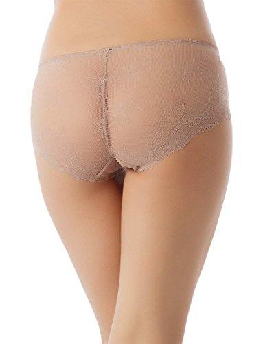 iB-iP Damen Sexy Lace Sehen Durch Heiße Schiere Hösc Mitte Taille Hipster Panty Sand