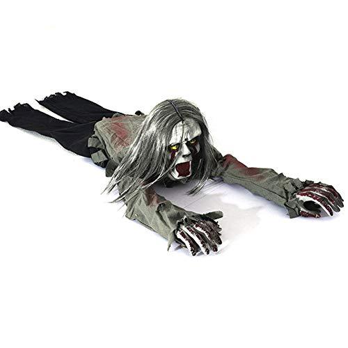 GDSZ Halloween Horror Skeleton Crawling Zombie Requisiten Blutige Spuk Haus Dekoration mit Batterie Betrieben Lichtsteuerung Induktiv
