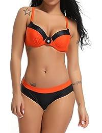 FITTOO Bikini Femme 2 Pièces Sexy Maillot de Bain Push up Rembourré avec Pad, Bikini Imprimé, L