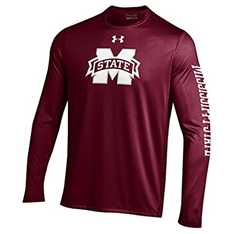 NCAA Mississippi State Bulldogs Mens Under Armour NCAA Long sleeve Tech Tee, Maroon, Small