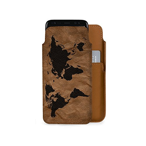 DailyObjects Wrinkled World Map Real Leather Case Cover / Pouch For Samsung Galaxy S8