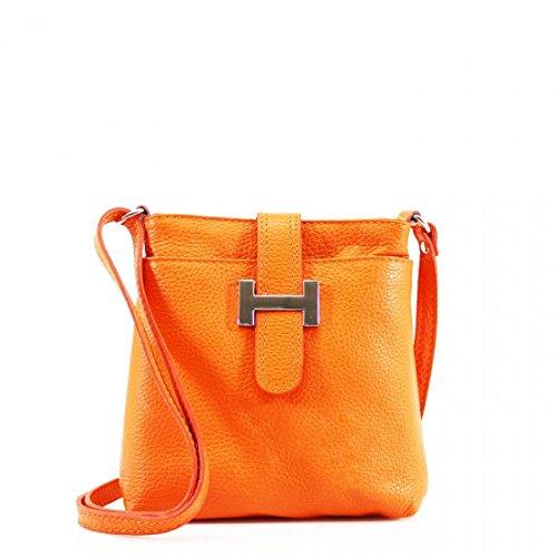LeahWard Damen echtes Leder Kleine Cross Body Kuriertasche Handtasche für Frauen Urlaub CWH00 (Orange)