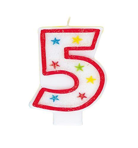 Parte única vela del cumpleaños número 5 con la decoración de la torta brillante