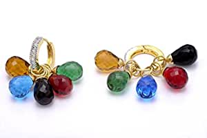 Pearlscart Multicolor Gold-Plated Hoop Earrings For Women