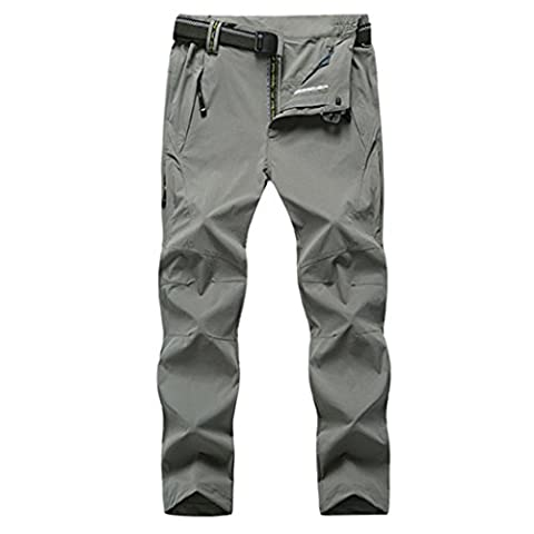WALK-LEADER Sportswear Men's Outdoor Lightweight Breathable Quick Dry Hiking Mountain Pants Trousers Lightgrey Size UK