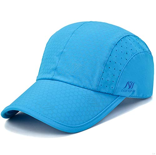 Sport Cap,Soft Brim Lightweight Waterproof Running Hat Breathable Baseball Cap Quick Dry Sport Caps Cooling Portable Sun Hats for Men and Woman Performance Workouts and Outdoor Activities Sky Blue Womens Sky Blue Cap