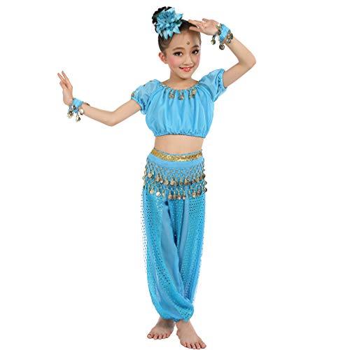 Magogo Mädchen Bauchtanz Kostüm Geburtstagsfeier Kostüm, Cosplay Arabische Prinzessin Dancewear Glänzende Karneval Outfit für Kinder (S, ()