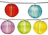 Lichterkette mit 20x LED Lampion bunt Ø 7,5 cm Strom außen