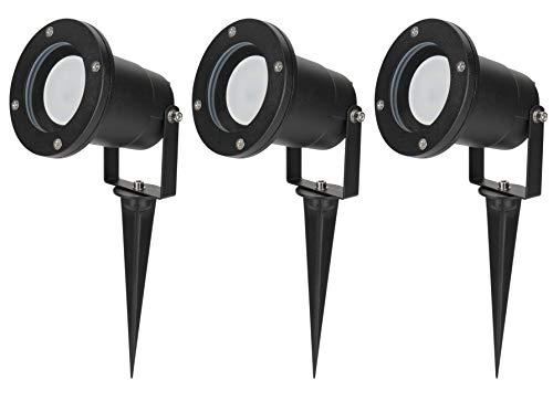 3er Set Gartenleuchte Diego 230Volt LED 5Watt warmweiss GU10 IP65 schwarz wasserdicht schwenkbar Spießleuchte Dekobeleuchtung Baumbeleuchtung Erdspieß Leuchtmittel austauschbar rostfrei