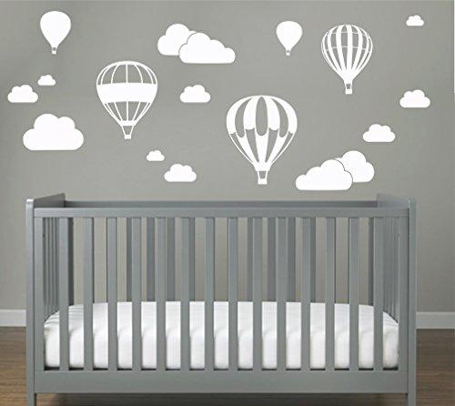 WOLKEN SET 20 teilig Wandtattoo Wandaufkleber Sticker Aufkleber Wand Himmel Baby (Weiss) ()