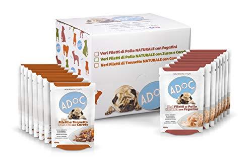 ADOC Cibo Umido per Cani con Ingredienti Naturali al 100% - Multipack da 16 Buste da 100 Gr con Pollo e Fegatini e con Tonno e Carote - 16 Buste