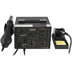 MVPOWER Estación de Soldadura Digital Ajustable con Pantalla LCD Control de Temperatura Electrónica 100℃-480℃ Kit del Soldador Eléctrico con Pistola de Aire Caliente