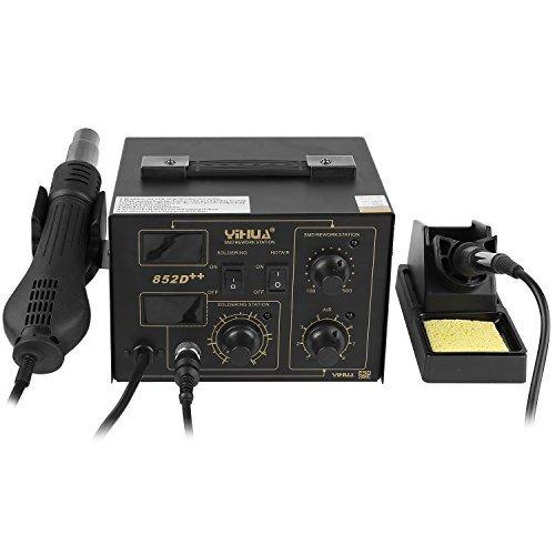 MVPOWER Heißluftpistole Heißluftation Regelbare Digitale Lötstation 852D++, LCD-Anzeige, elektronisch temperaturgesteuert, Temperaturanzeige 100℃-480℃, Lötkolben