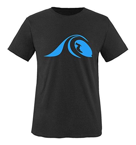 Comedy Shirts - Surfer Welle - Herren T-Shirt - Schwarz/Blau Gr. L