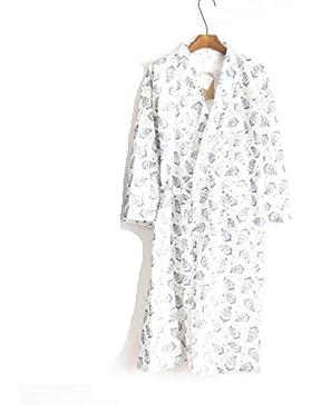 SUxian Gran El Albornoz de Verano de los Hombres Deja la Bata de algodón del patrón de la Rebeca del Pijama