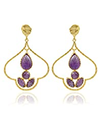 The Bohemian E2609-424 Purple Ribbed Dome Alloy Gold Plated Dangle & Drop Earring For Women