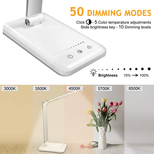 41DoY3fsuZL - Lámpara Escritorio LED,5*10 Modos de Brillo con 52 SMD Leds Lámparas Mesa USB Recargable,2000mAh Plegable Flexo de Escritorio Control Táctil,Protege a ojos