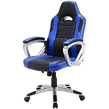 IntimaTe WM Heart Racing Silla de Escritorio Oficina Computador Ergonómica Regulable PU, Giratorio de 360 grados,Silla Regulable en Altura, Azul