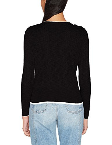 Only Onlrita L/S Ruffle Pullover Knt, Pull Femme Noir (Black Whitecap Gray Melange Contrasts)