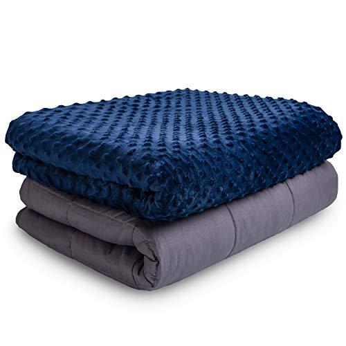 VAN BEEKEN Weighted Blanket Gewichtsdecke Therapiedecke I Besser Schlafen, schwere Decke als Einschlafhilfe Erwachsene Kinder I gewichtete Decke Bettdecke 150 x 200 cm 11.3 kg Blau