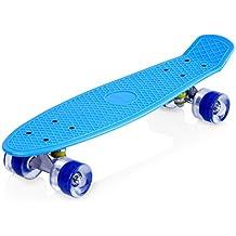 Enkeeo - Monopatín Skateboards Retro Crucero (22 pulgadas, 4 PU ruedas traslúcidas, tabla de plástico reforzado, rodamiento ABEC-7) Azul