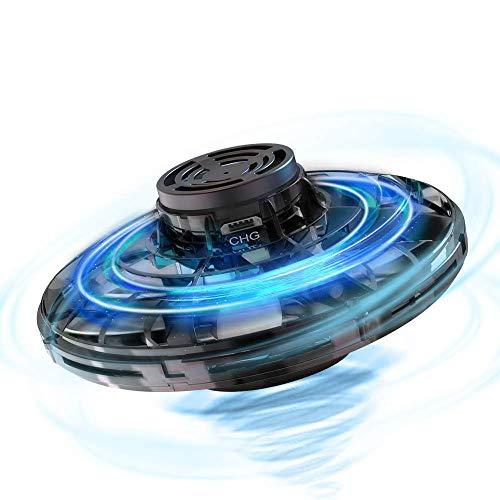 Hisome FlyNova UFO Mini Drone, Balle UFO Volante, USB Rechargebale, Avion Infrarouge Induction Hélicoptère Capteurs à 360° Rotaion Contrôlée à la Main avec Lumière LED pour Enfants ou Adultes (Noir)