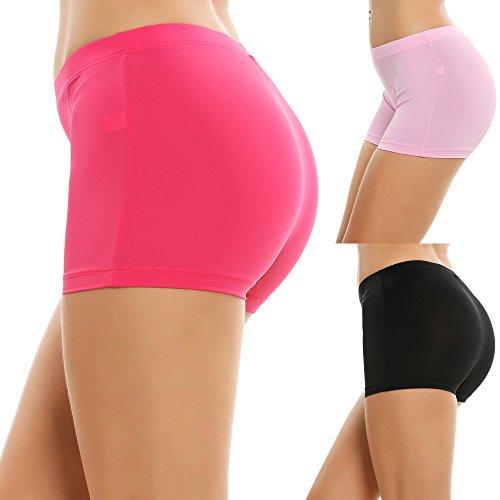 Cooshional 3 Pack Mid Waist Women Boy Shorts Casual Stretchy Underwear