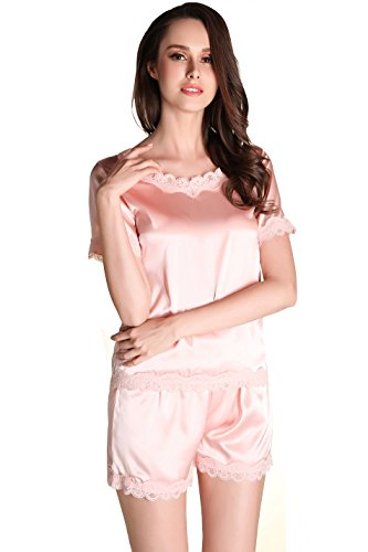 SANSEIJH Damen Kurze Ärmel Satin-Pyjama Schlafanzug Set - Rosa - M (Lockere Passform Schlaf-hose)