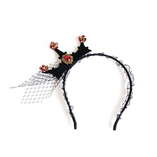 Lurrose Halloween Crown Stirnbänder Königin Crown Vintage Barock Spitze Mesh Tiara Halloween Kostüm Zubehör (schwarz)