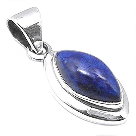 Pendentif lapis-lazuli en argent massif 925 - Taille de pierre