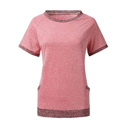 CUTUDE Damen T Shirt, Bluse Kurzarm Sommer Frauen Casual Color Block Kurzarm Rundhals Tasche Blusen Tops (Rot, Medium)