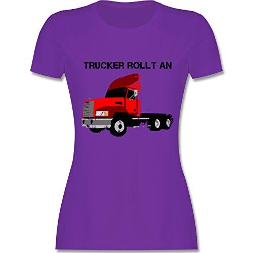 Trucker - Trucker rollt an - tailliertes Premium T-Shirt mit Rundhalsausschnitt für Damen Lila