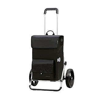 Andersen Einkaufstrolley Royal XXL mit 3-Speichenrad 25 cm und 45 Liter Einkaufstasche Asta schwarz mit Kühlfac, Gestell aus Aluminium klappbar