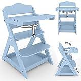 Froggy 2 in 1 Treppenhochstuhl für Kinder Holz Kinderhochstuhl mit klappbarem Tisch und Ablage Blau