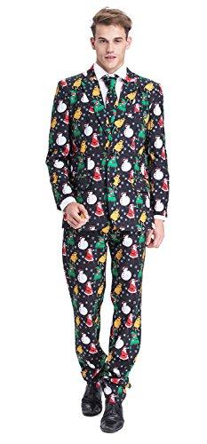 YOU LOOK UGLY TODAY Modisch Normaler Schnitt Herren Party Anzug Weihnachten Kostüme Party Suits Festliche Anzüge mit lustigenMustern - (Kostüm Schnitt)