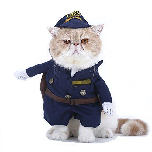 favolook Pet Funny Reinigungstuch Anzug Polizei Cowboy Halloween Party Cosplay Kleid bis Puppy Mantel mit Hut (Katze Halloween Kostüme Für Kinder)