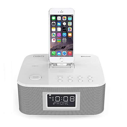 HLL Bluetooth-Wecker DS402 mit Stereo Speaker FM Radio USB Charging AUX Line-in für ipad iphone6/6s/5s,Gray (Radio-lautsprecher Für Iphone6)