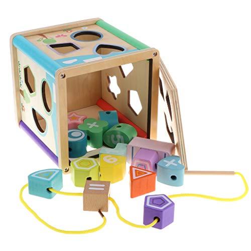 KESOTO Multifunktions Sortierbox Steckbox Formen Sortierspiel Geschicklichkeitsspiel Montessori Holzspielzeug für Kinder - Würfel