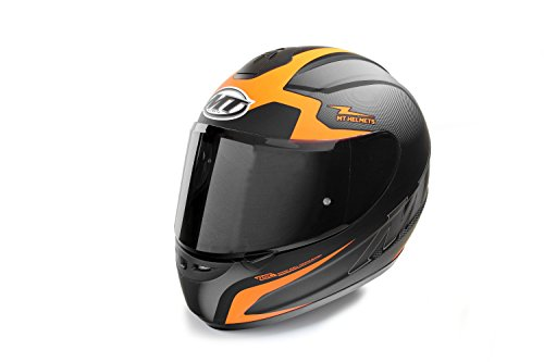 MT Helmets Motorradhelm Rollerhelm Thunder schwarz-orange/schwarz-grün, Größe XS, S, M, L, XL, XXL (ECE 22.05 geprüft!) (S, Orange/Visier schwarz getönt)