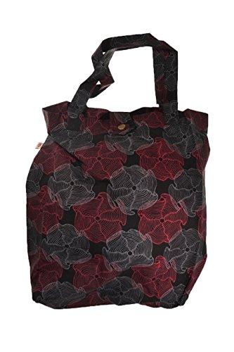 - Sac tote bag coton imprime ethnic flower psyche noir rouge - Rouge